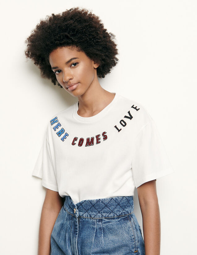T-shirt à patch à message : Collection Été couleur blanc