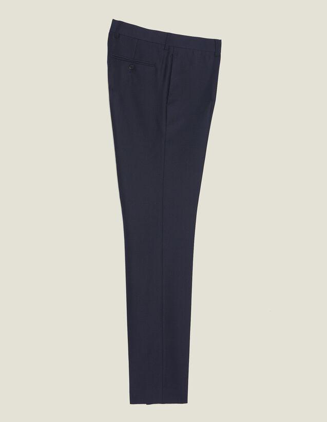 Pantalon De Costume En Laine Nattée : Costumes & Smokings couleur Marine