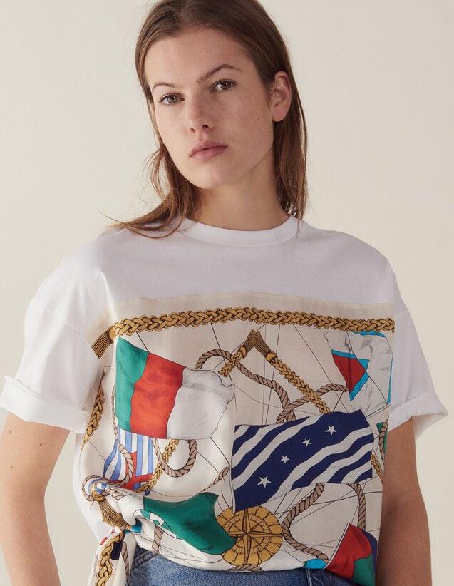 T-Shirt Avec Empiècement En Soie : T-shirts couleur Blanc