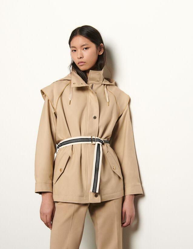 Parka en gabardine de coton : Manteaux couleur Beige
