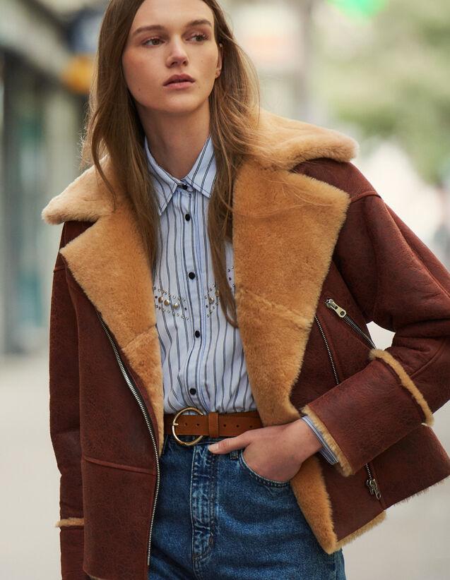 Bombardier en peau lainée bicolore : Manteaux couleur Marron