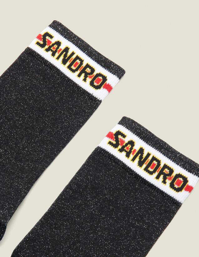 Chaussettes En Lurex Avec Logo Sandro : Chaussettes couleur Noir