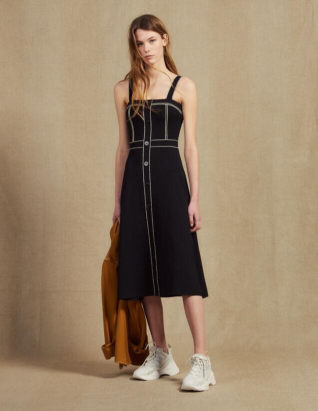 Robe Midi À Bretelles En Maille : Robes couleur Noir