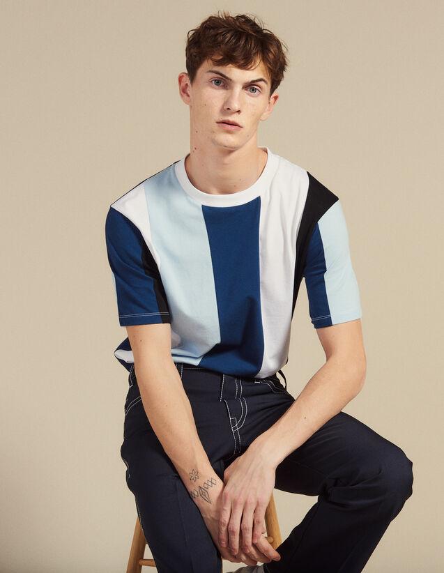 T-Shirt À Larges Rayures : T-shirts & Polos couleur Bleu