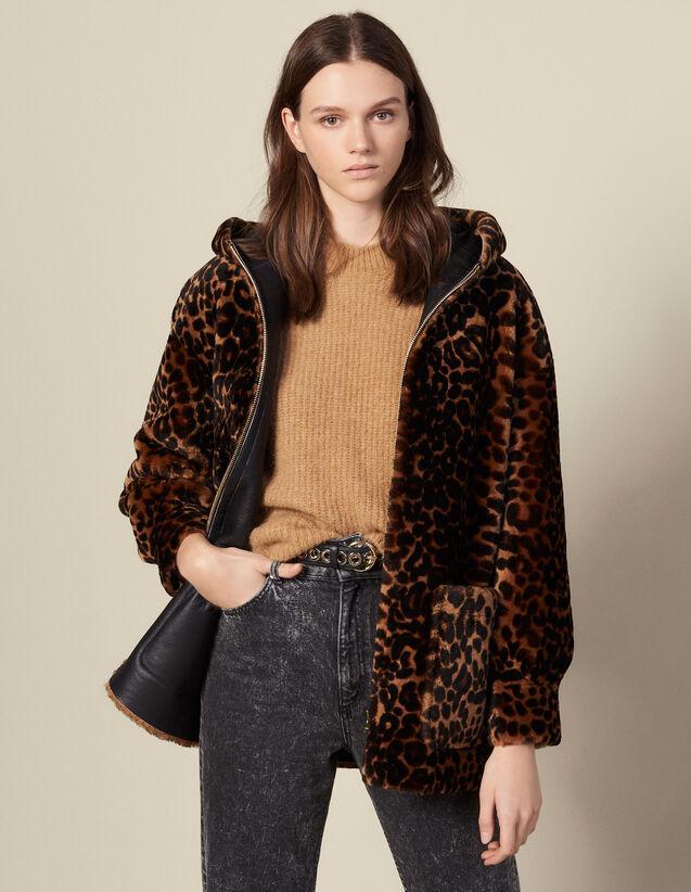 Manteau en peau lainée imprimée : Manteaux couleur Leopard
