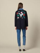 Cardi-coat brodé avec col en jean : Pulls & Cardigans couleur Marine
