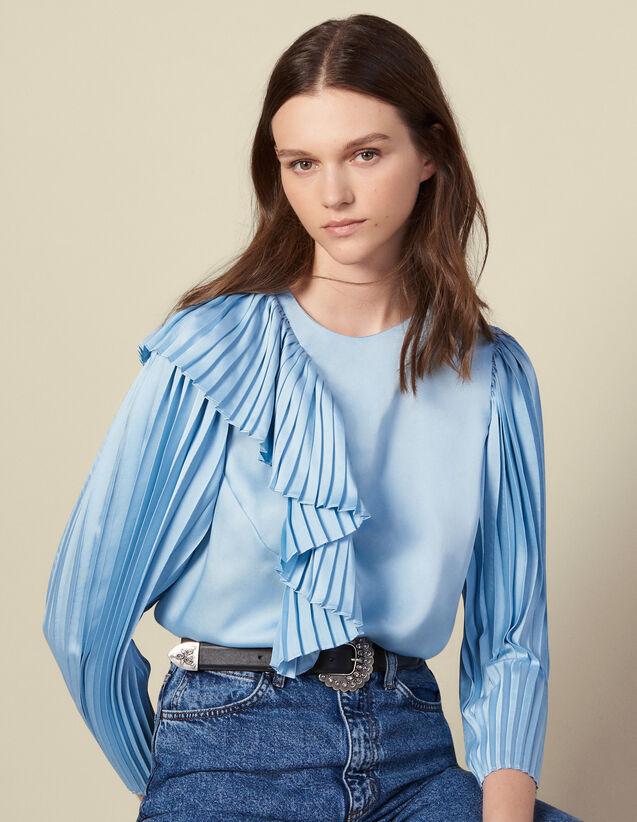 Top à manches longues plissées : Tops & Chemises couleur Ciel
