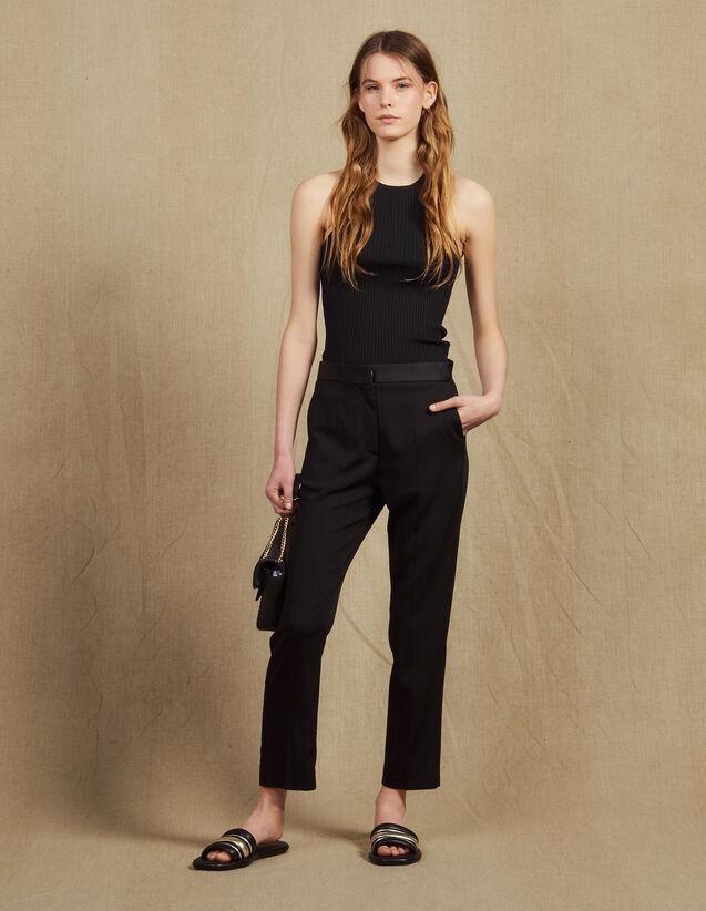 Pantalon Avec Empiècement De Satin : Pantalons couleur Noir
