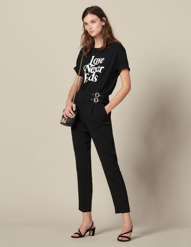 Pantalon Taille Haute Ornée De Boucles : Pantalons couleur Noir