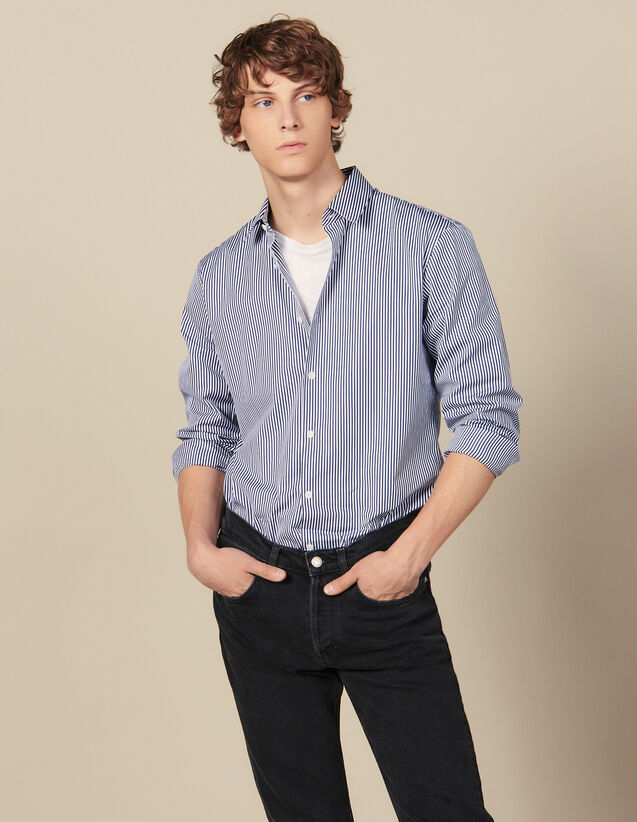 Chemise Rayée : Collection Hiver couleur Marine/Blanc