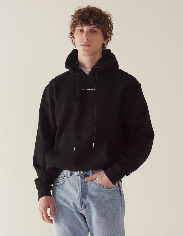Sweat hoodie avec broderie logo : Sweats couleur Noir