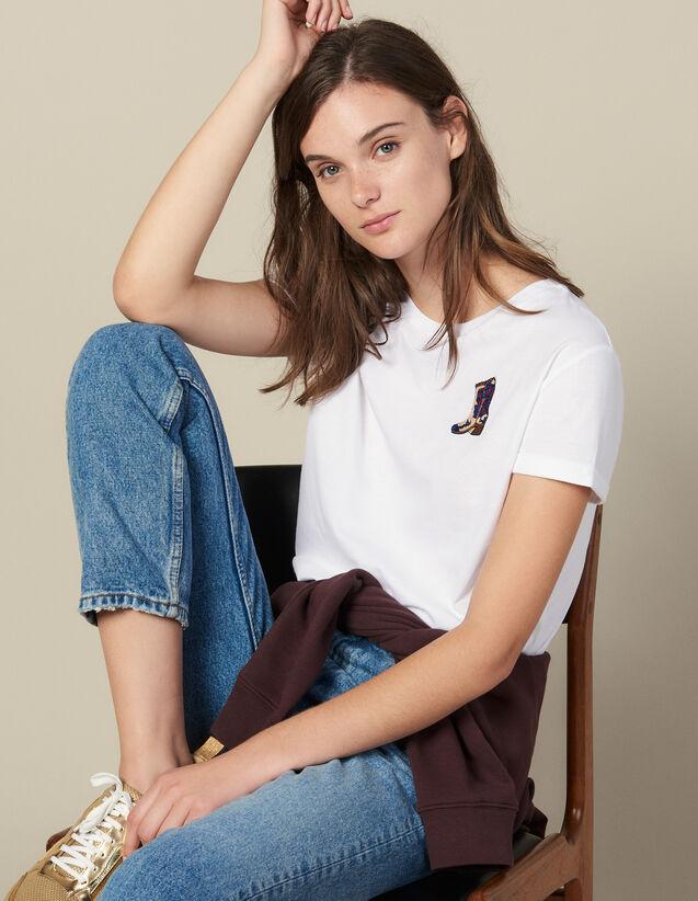 T-Shirt À Patch Brodé : T-shirts couleur blanc