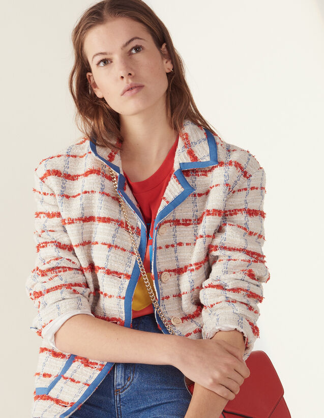 Veste De Blazer En Tweed : Blousons & Vestes couleur Multicolore