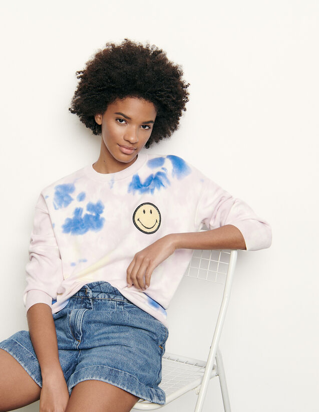 Pull tye and dye avec broderie smiley : Pulls & Cardigans couleur Multicolore