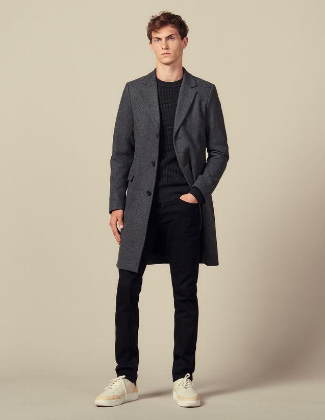Manteau à fermeture trois boutons : Trenchs & Manteaux couleur Gris Chiné