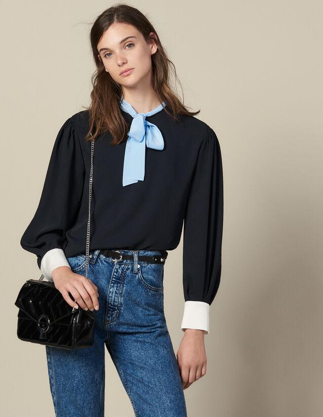 Top Fluide À Col Lavallière Contrasté : Tops & Chemises couleur Noir
