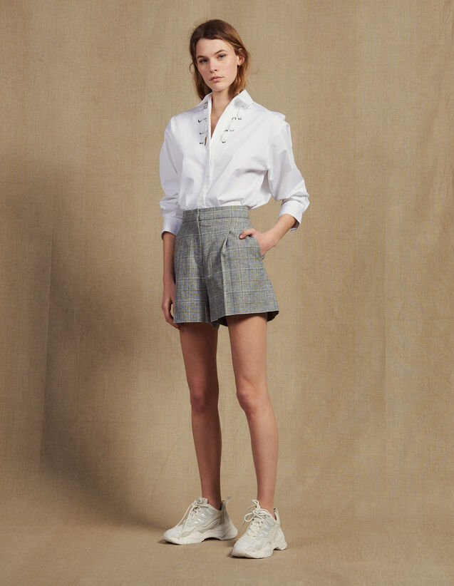 Short À Carreaux : Jupes & Shorts couleur Gris