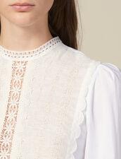 Top Avec Plastron De Dentelle : Tops & Chemises couleur blanc