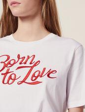 T-Shirt Manches Courtes À Message Brodé : Sélection Last Chance couleur Blanc