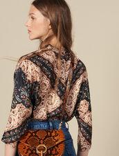 Top En Twill De Soie Imprimé : Tops & Chemises couleur Noir