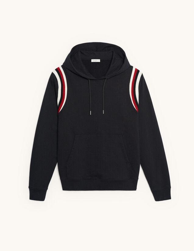 Hoodie avec inserts de bords-côtes : Sweats couleur Noir
