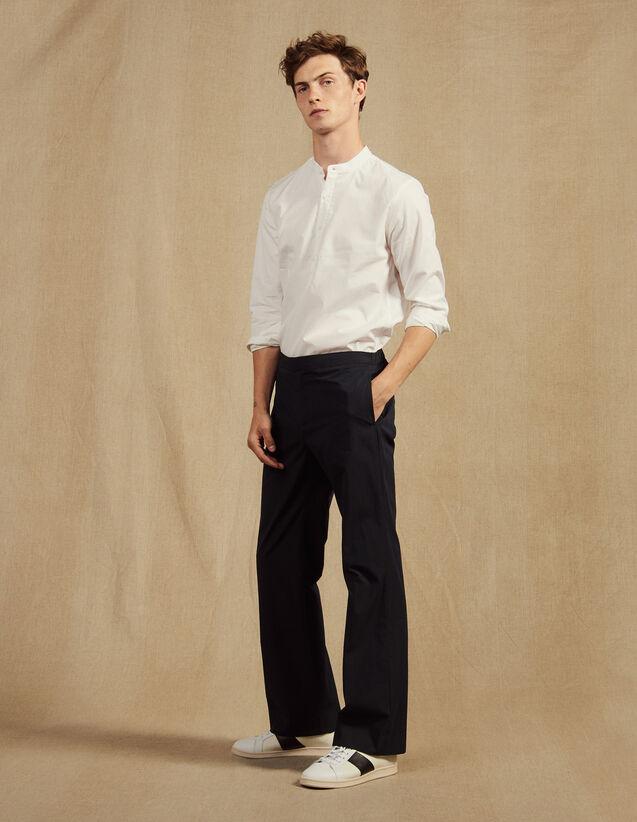 Pantalon Taille Élastique En Coton : Pantalons & Shorts couleur Marine