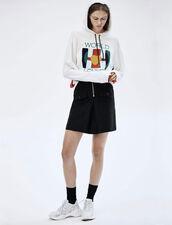 Jupe Taille Haute Avec Zip Contrasté : Jupes & Shorts couleur Noir