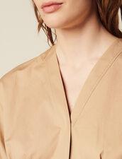 Chemisier En Coton À Manches Courtes : Tops & Chemises couleur Beige