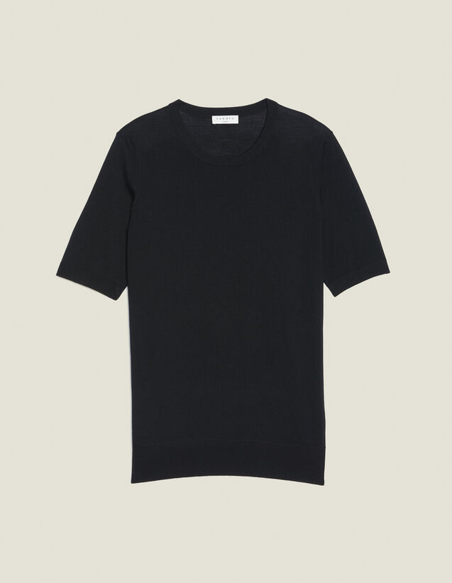 Pull À Manches Courtes En Laine Mérinos : Pulls & Cardigans couleur Noir