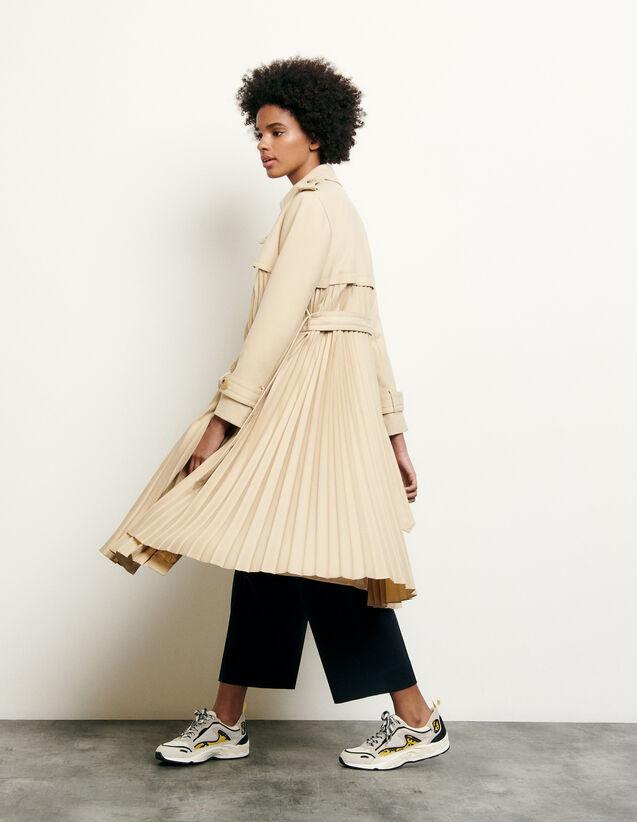 Trench plissé à ceinturer : Manteaux couleur Beige