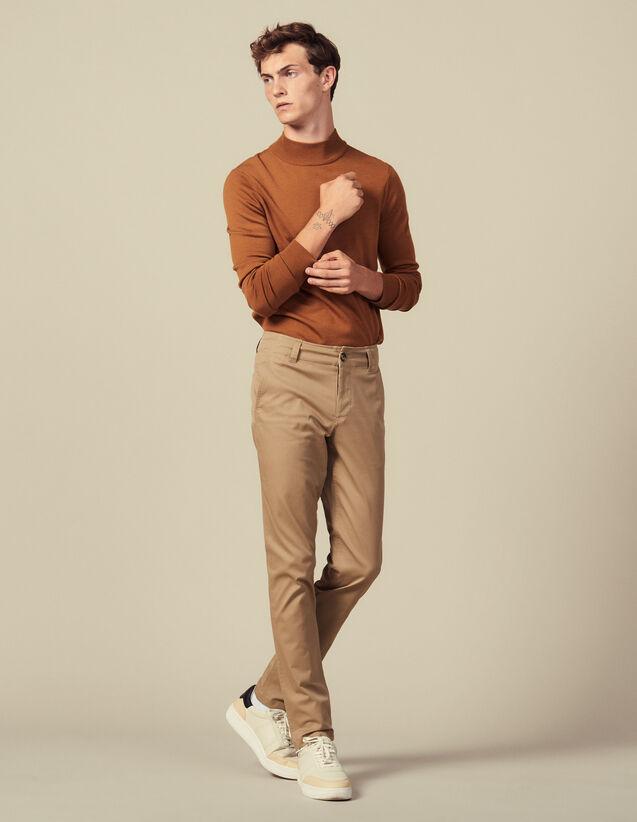 Chino En Coton : Pantalons & Shorts couleur Beige