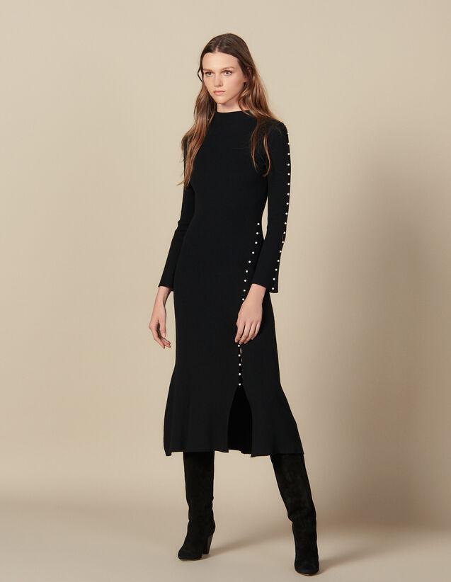 Robe Longue En Maille Ornée De Perles : Robes couleur Noir