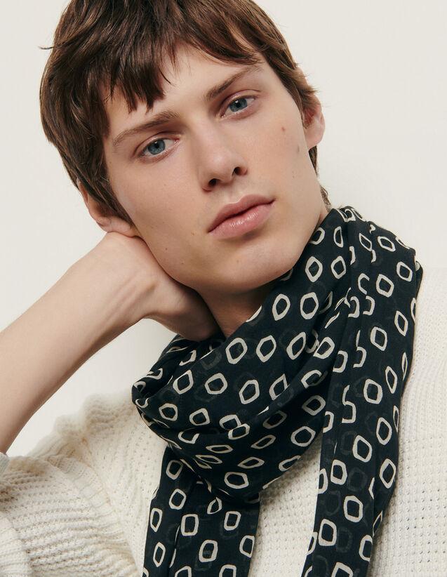 Foulard imprimé : Foulards & Echarpes couleur Noir/Ecru