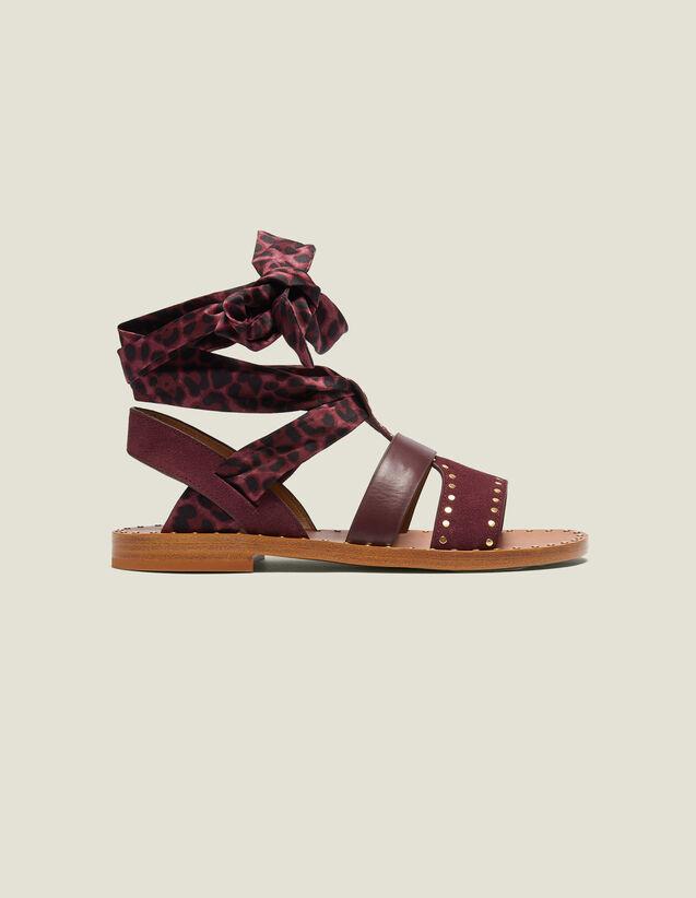 Sandales Plates Avec Foulard À Nouer : Toutes les Chaussures couleur Bordeaux