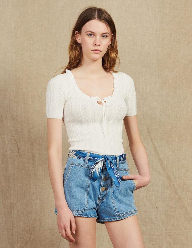 Top Manches Courtes En Maille Ajourée : Tops & Chemises couleur Blanc