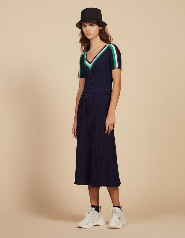 Robe Longue En Maille Sportswear : Robes couleur Marine