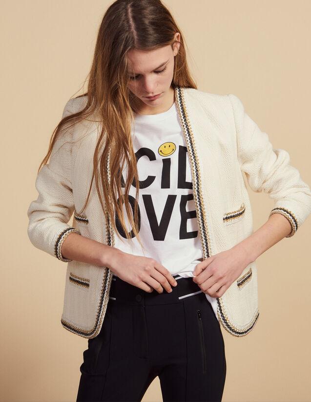 Veste En Tweed Ornée De Galons : Blousons & Vestes couleur Ecru