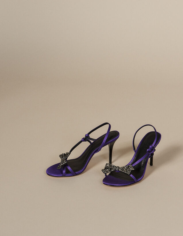 Sandales en satin avec nœud strassé : Chaussures couleur Violet