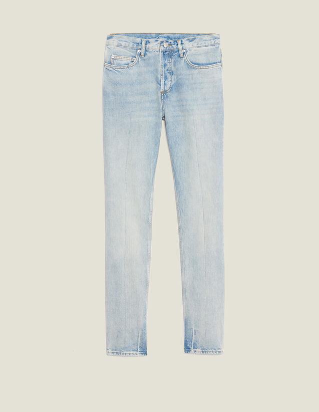 Jean Délavé Clair - Coupe Étroite : Jeans couleur Blue Vintage - Denim