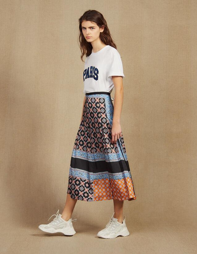 Jupe Longue Imprimée À Plis : Jupes & Shorts couleur Bleu