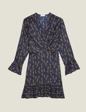 Robe Courte Imprimée À Volants : Robes couleur Bleu