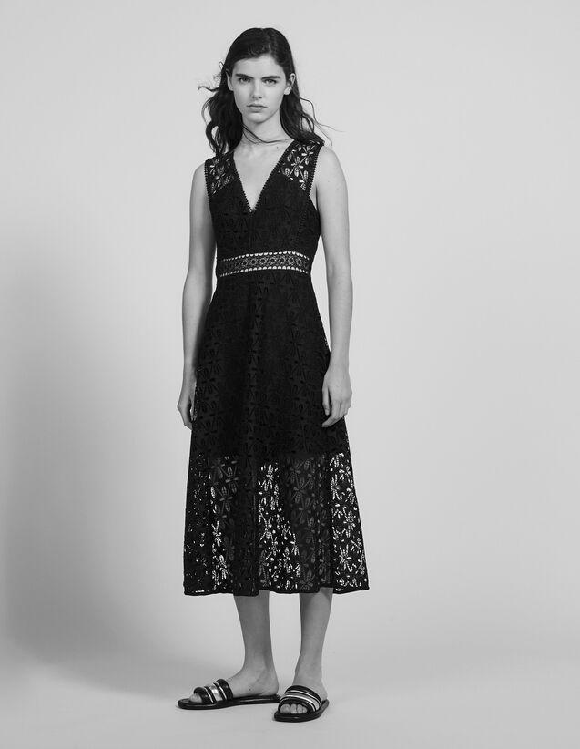 Robe midi en guipure anglaise : Robes couleur Noir