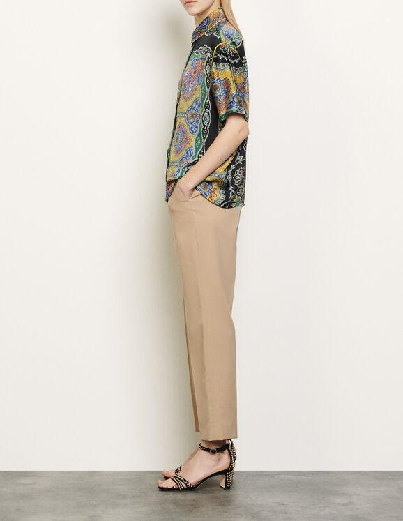 Chemise à manches courtes imprimée : Tops & Chemises couleur Noir