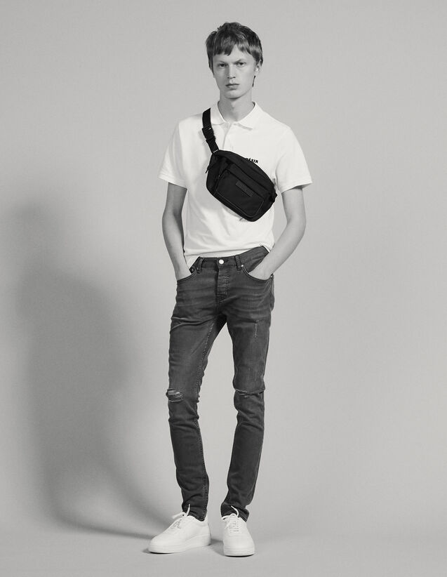 Jean Destroy - Coupe Skinny : Jeans couleur Gris