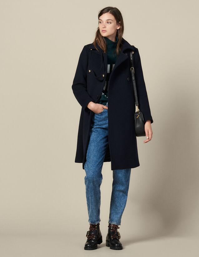 Manteau officier en laine mélangée : Manteaux couleur Marine