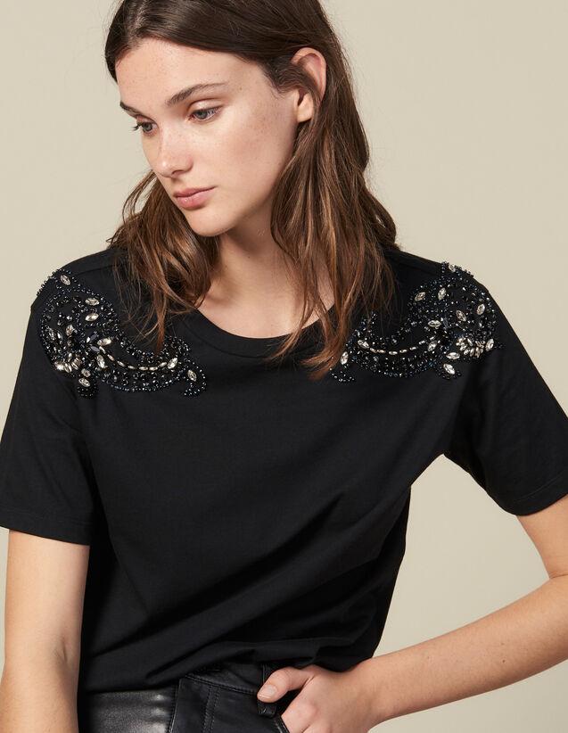 T-Shirt Brodé Aux Épaules : T-shirts couleur Noir