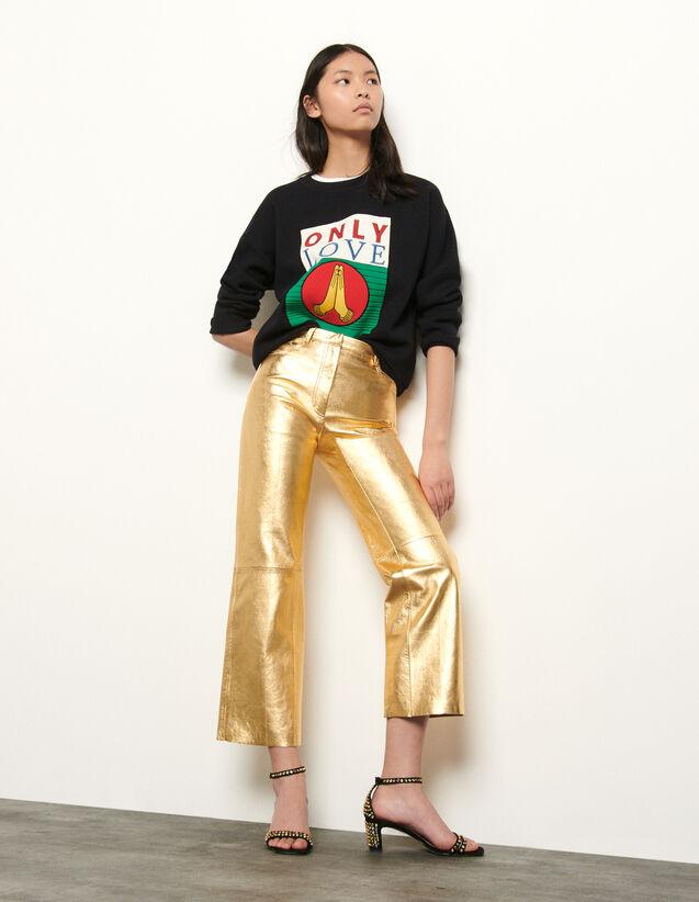 Pantalon en cuir métallisé : Pantalons couleur Or
