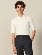 Pull Col Polo En Maille Fine : T-shirts & Polos couleur Ecru