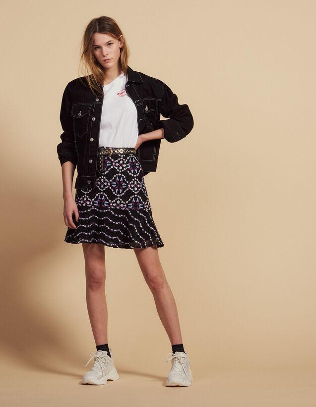Jupe Courte En Guipure : Jupes & Shorts couleur Noir