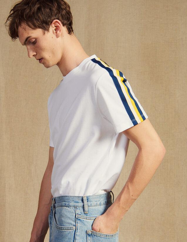 T-Shirt Avec Galons Rayés : T-shirts & Polos couleur Blanc